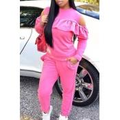 Casual Round Neck Dew Shoulder Ruffle Design Pink Blending Two-piece Pants Set
