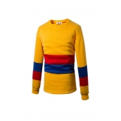 Leisure Round Neck Striped Yellow Cotton Blends Ho