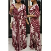 Causal V Neck Stripe Printed Wine Red Healthy Fabr