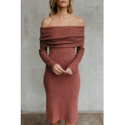 Lovely Sexy Bateau Neck Long Sleeves Brick-Red Ble