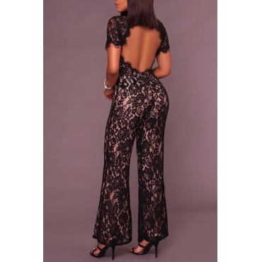 Sexy Stand Collar Hollow-out Black Bud Silk One-piece Jumpsuits