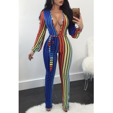 Trendy Deep V Neck Striped Printed Polyester One-piece Jumpsuits