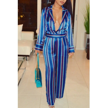 Euramerican Deep V Neck Striped Blue Polyester One-piece Jumpsuits