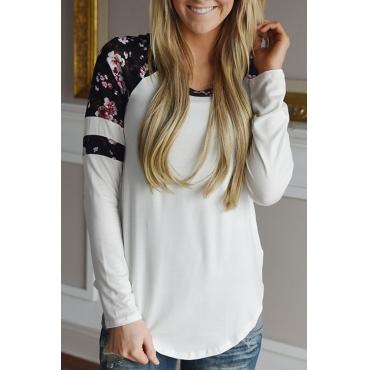 Lovely Euramerican Round Neck Printed Patchwork White Blending T-shirt