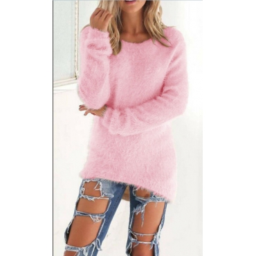 Lovely Fashionable Round Neck Long Sleeves Pink Knitting Sweaters