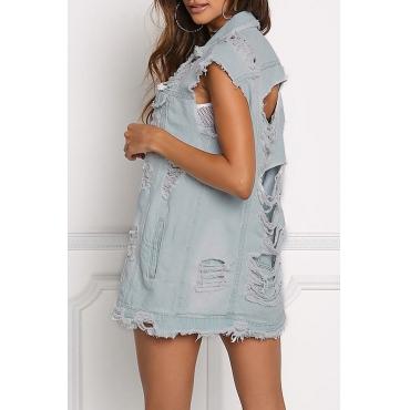 Trendy Turndown Collar Back Ripped Baby Blue Denim Vests