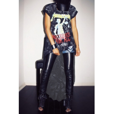 Trendy Printed Asymmetrical Black Milk Fiber Ankle Length Dress