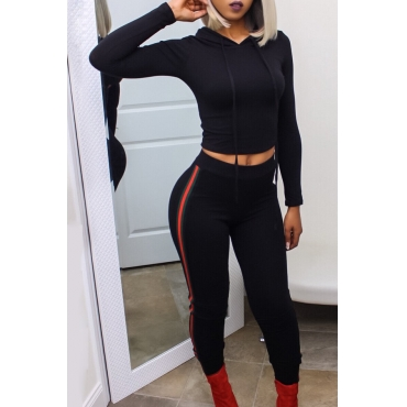 Euramerican Hooded Collar Striped Black Cotton Blends Two-piece Pants Set
