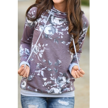 Lovely Euramerican Hooded Collar Printed Purple Cotton Blends Hoodies