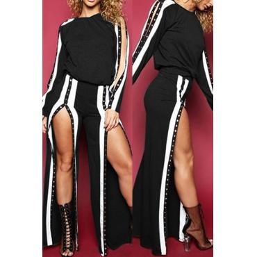 Fashionable Round Neck Slit Design Black Cotton Two-piece Pants Set