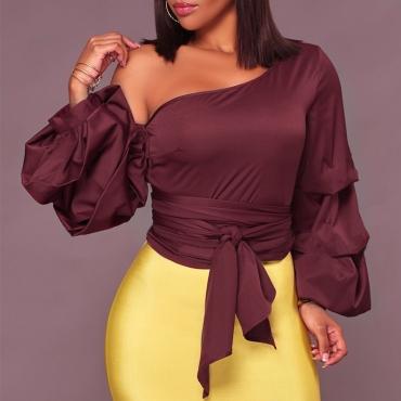 Sexy Skew Collar Heaps Sleeves Wine Red Silk Shirts