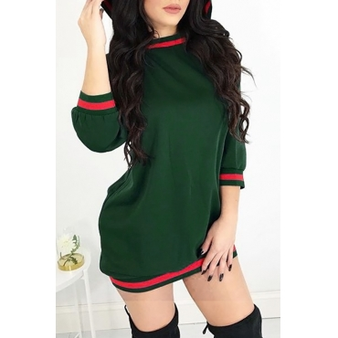 Casual Hooded Collar Striped Patchwork Green Cotton Blend Mini Dress