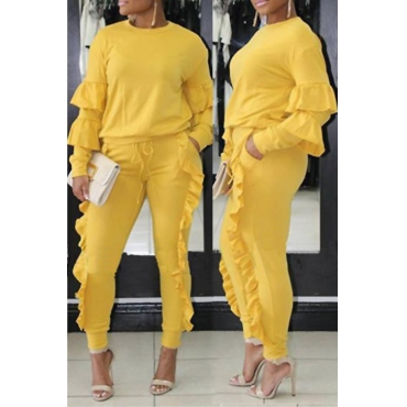 Fashionable Round Neck Ruched Yellow Blending Two-piece Pants Set