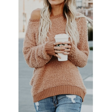 Lovely Euramerican Round Neck Long Sleeves Khaki Polyester Sweaters