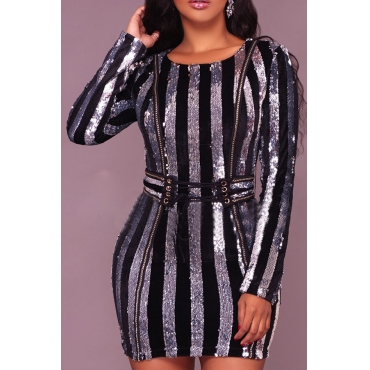 Euramerican Round Neck Sequined Decorative Striped Silver Polyester Mini Dress