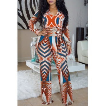 Euramerican V Neck Printed Orange Cotton Blends One-piece Jumpsuits