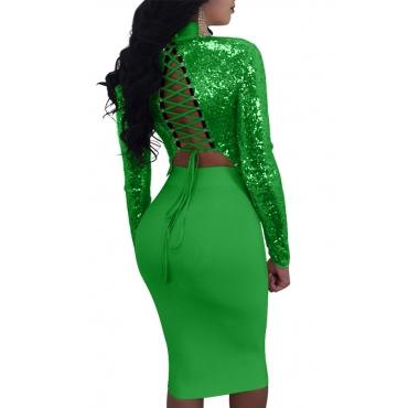 Sexy Conjunto De Falda De Dos Piezas De Poliéster Color Verde Con Cordones Y Cuello De Mandarina (desgaste De Doble Cara)
