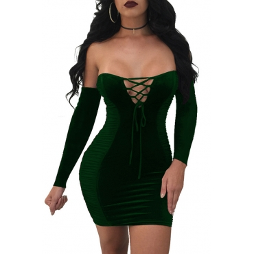 Sexy Strapless Lace-up Hollow-out Green Velvet Mini Dress