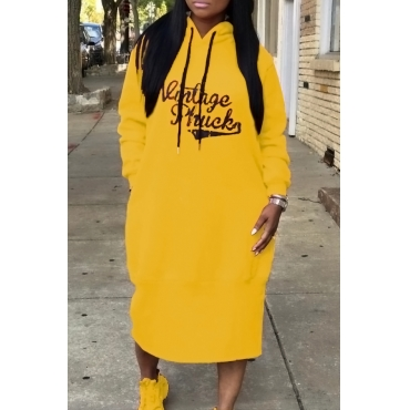 Casual Hooded Collar Letters Printed Yellow Polyester Mid Calf Dress