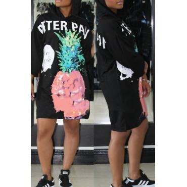 Stylish Hooded Collar Printed Black Polyester Knee Length Dress