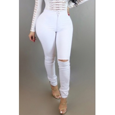 Trendy Mid Waist Broken Holes White Denim Pants
