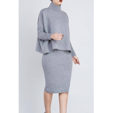 Euramerican Turtleneck Long Sleeves Grey Two-piece Skirt Set