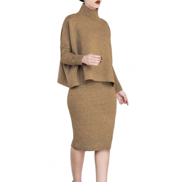 Euramerican Turtleneck Long Sleeves Brown Two-piece Skirt Set