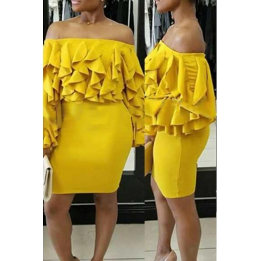 Sexy Bateau Neck Layered Ruffles Yellow Milk Fiber Mini Dress