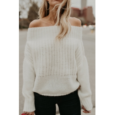 Lovely Trendy Bateau Neck Long Sleeves White Acrylic Sweaters