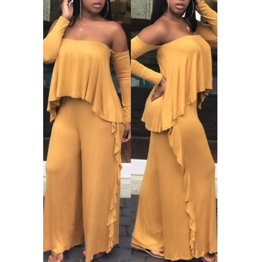 Casual Strapless Fold Design Yellow Polyester One-piece Jumpsuits