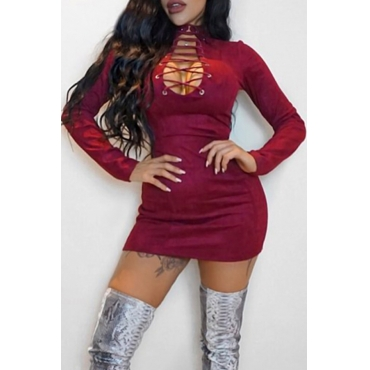 Sexy Round Neck Lace-up Hollow-out Wine Red Velvet Mini Dress