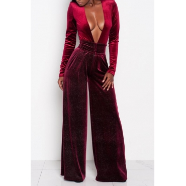 Sexy Deep V Neck Wine Red Velvet One-piece Jumpsuits