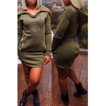 Leisure Long Sleeves Zipper Design Army Green Polyester Sheath Mini Dress