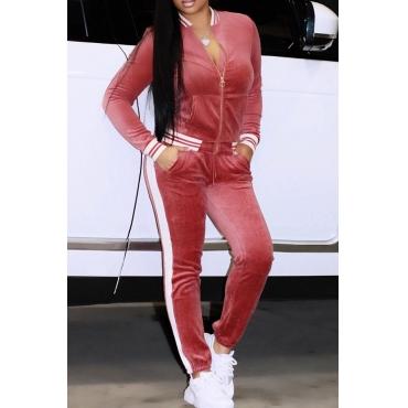 Pink Velvet Pants Plain Mandarin Collar Long Sleeve Casual Two Pieces