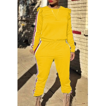 Casual Round Neck Striped Yellow Blending Two-piece Pants Set