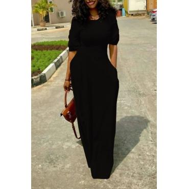 Leisure Round Neck Pocket Design Black Polyester Floor Length Dress