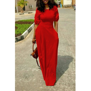 Leisure Round Neck Pocket Design Red Polyester Floor Length Dress