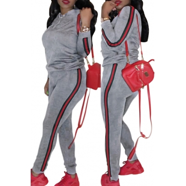 Casual Hooded Collar Striped Grey Polyester Two-piece Pants Set