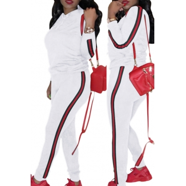 Casual Hooded Collar Striped White Polyester Two-piece Pants Set