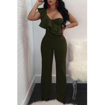 Fashionable Show A Shoulder Ruffles Design Army Green Polyester One-piece Jumpsuits