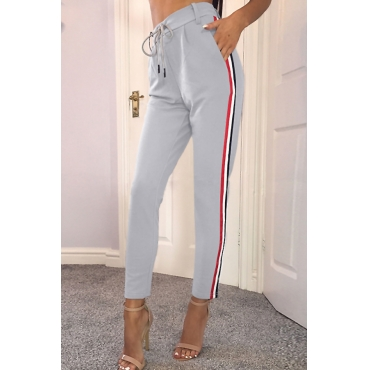 Euramerican High Waist Striped Patchwork Grey Polyester Pants