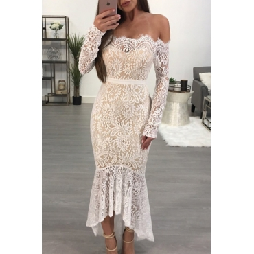 Retro Bateau Neck See-Through White Lace Ankle Length Dress(With Lining)