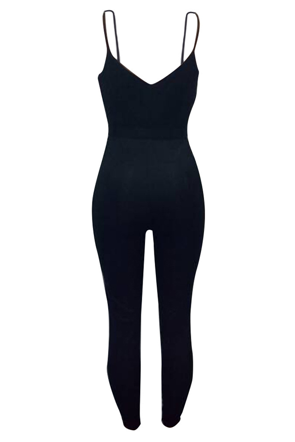 Euramerican Strapless Zipper Design Black Polyester One-piece Jumpsuits(Without Coat)