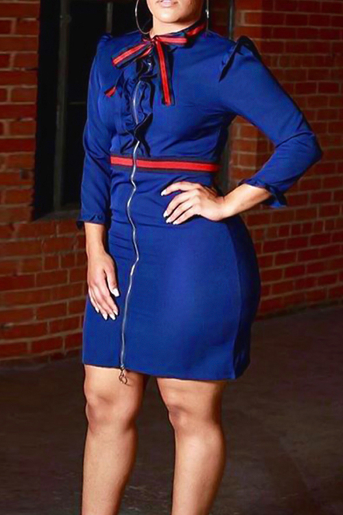 Sexy Round Neck Fold Design Blue Polyester Zipped Dress Dresses <br><br>