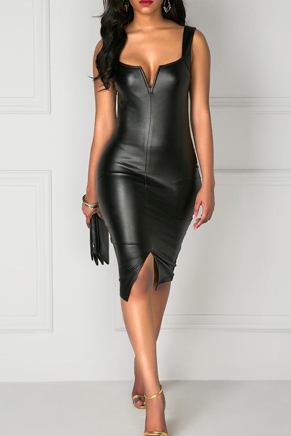 Sexy Square Neck Zipper Design Black PU Knee Length Dress