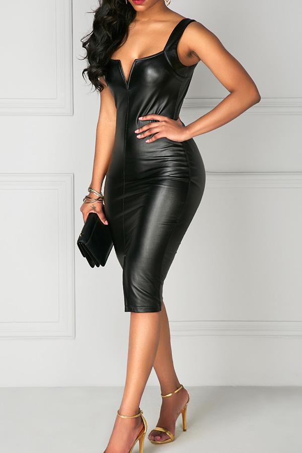 Sexy Cremallera De Cuello Cuadrado Diseño Negro PU Hasta La Rodilla Vestido
