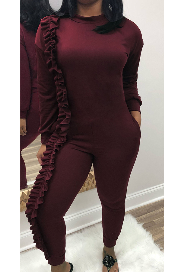 Fashionable Round Neck Ruffle Patchwork Purplish Red Polyester One-piece Jumpsuits фото