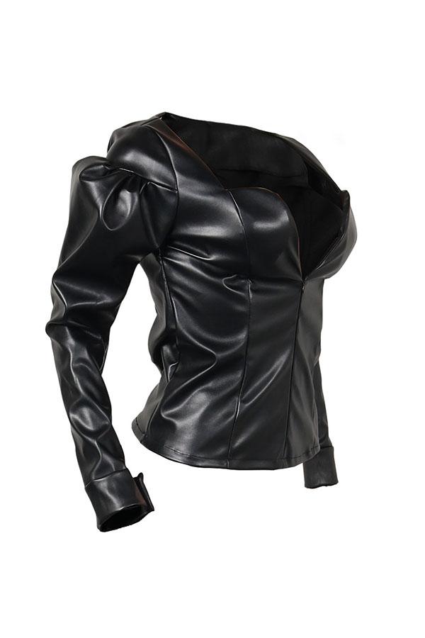 Trendy V Neck Puff Sleeves Zipper Design Black Faux Fur Coat
