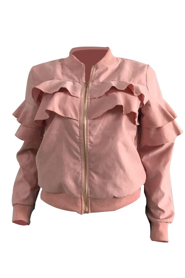 Leisure Round Neck Falbala Design Pink Velvet Zipped Coat