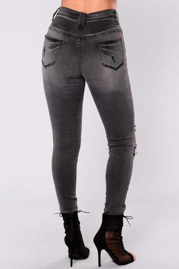 Fashionable High Waist Broken Holes Black Denim Zipped Pants
